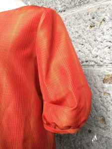 袖タックブラウス 紬 袖