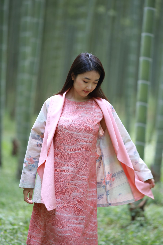 白×ピンク羽織